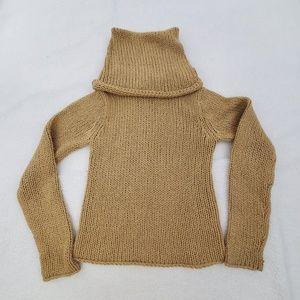 DKNY Sweater M Wool Tan Turtleneck Long Sleeve Kni